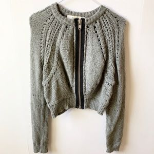 Anthropologie Sparrow Cropped Knit Zip Sweater